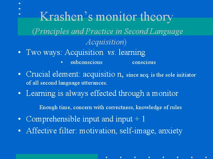 "monitor hypothesis The ongoing influence of krashen's input hypothesis there are at least forty ""theories"" of second language acquisition the monitor hypothesis."