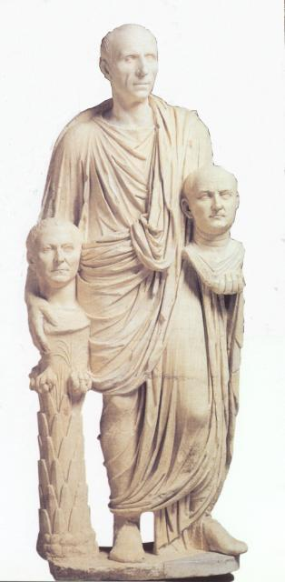 roman patrician carrying death masks of his ancestors