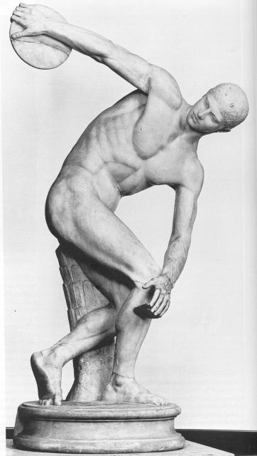 Discobolus, by Myron (Roman marble copy of bronze original), c.460